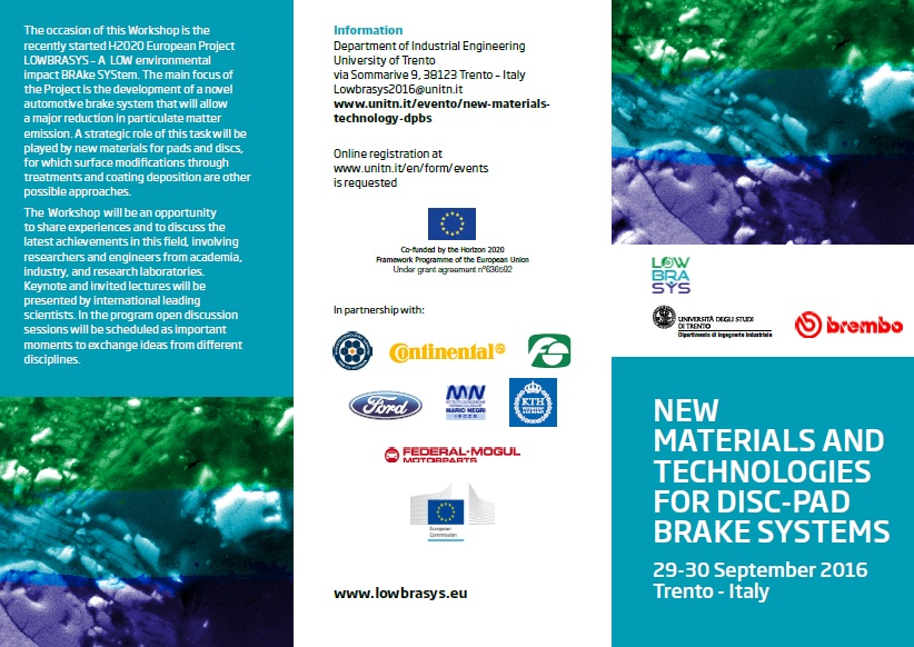 LOWBRASYS WORKSHOP: NEW MATERIALS AND TECHNOLOGIES FOR DISC-PAD BRAKE SYSTEMS, 30 September 2016