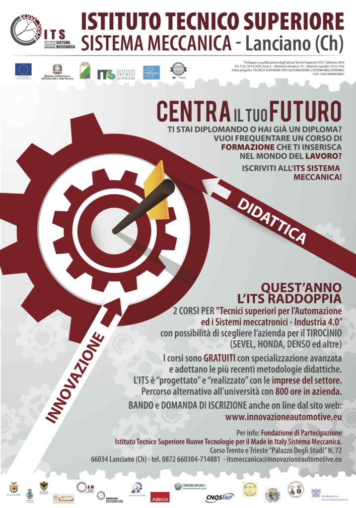 Industia 4.0,  2 nuovi corsi post diploma all'ITS  Sistema Meccanica di Lanciano