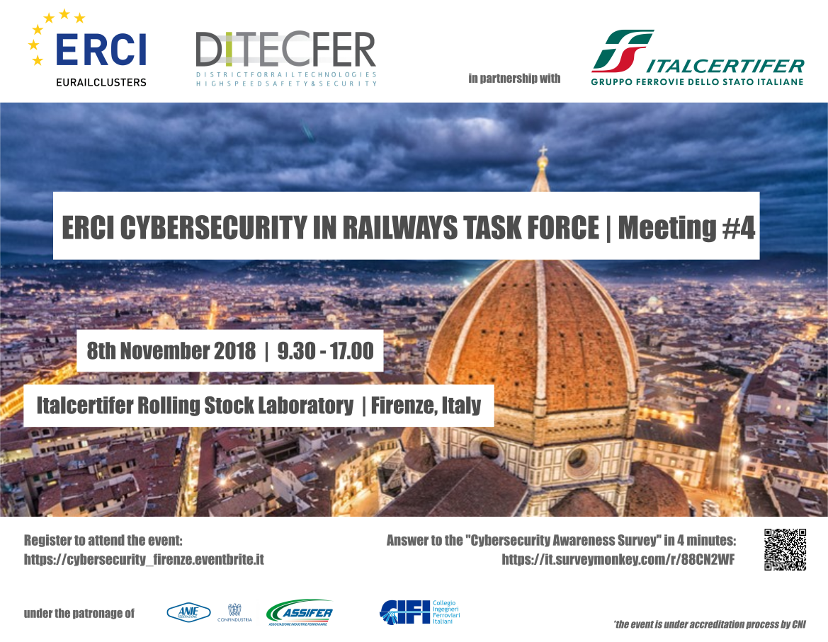 Save the date. L'8 novembre torna l'ERCI Cybersecurity in Railways Task Force