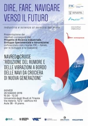 """Innovazione: i risultati del progetto """"NAVRED@CRUISE"""", giovedì 26 maggio all'Università di Trieste"""
