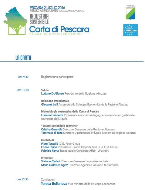 Imprese sostenibili, il contributo del Cluster Trasporti Italia 2020 alla Carta di Pescara