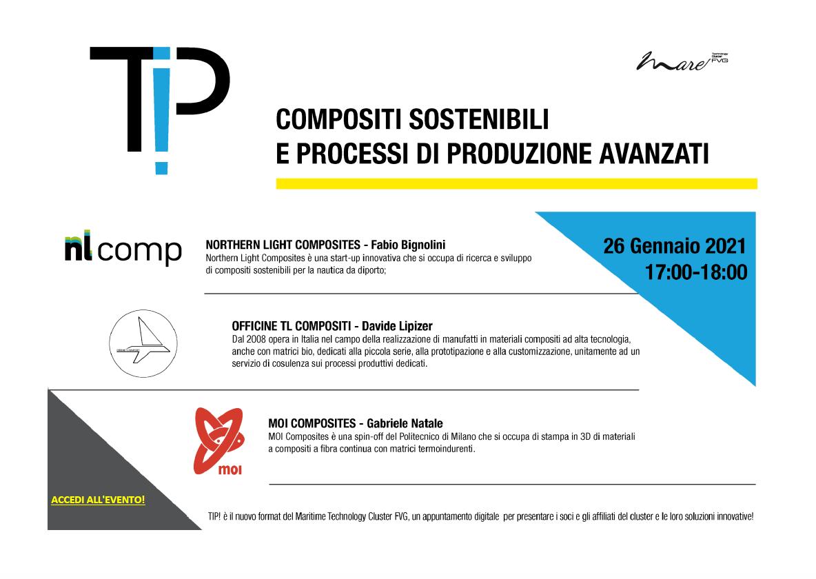 TIP!-Compositi sostenibili e processi di produzione avanzati: il 26 gennaio appuntamento con l'evento mareFVG